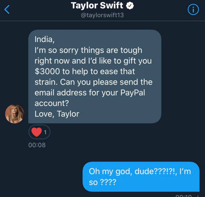 Taylor Swift directly messaged the fans in need of some financial support
