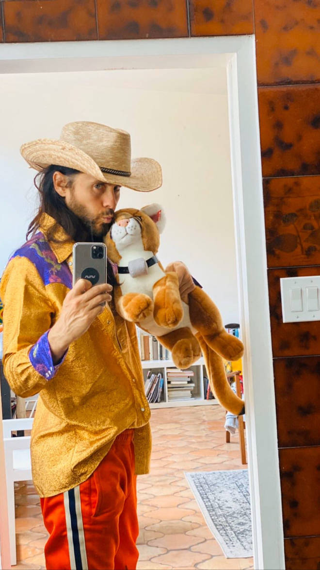 Jared Leto dressed up as Joe Exotic on Instagram Story