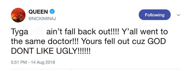 Nicki Minaj Exposes Tyga's Hair Transplant During Furious Twitter Rant