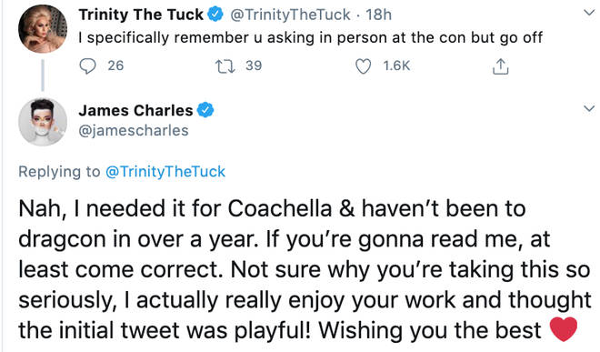 James Charles hits back at Trinity Taylor for starting beef