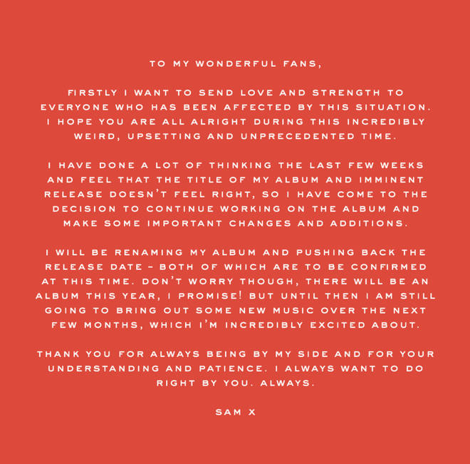 Sam Smith posted this statement on Twitter