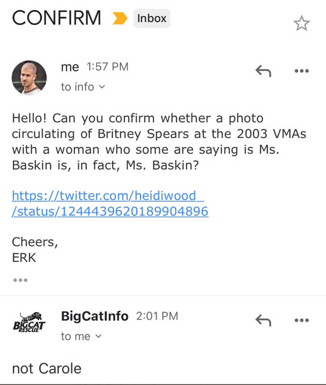 Carole Baskin's team confirm she wasn't at the VMAs with Britney Spears