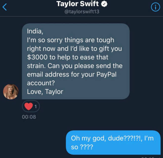 Taylor Swift DMs fan and sends them $3,000