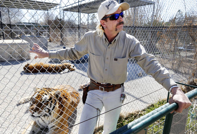 Joe Exotic with his tigers