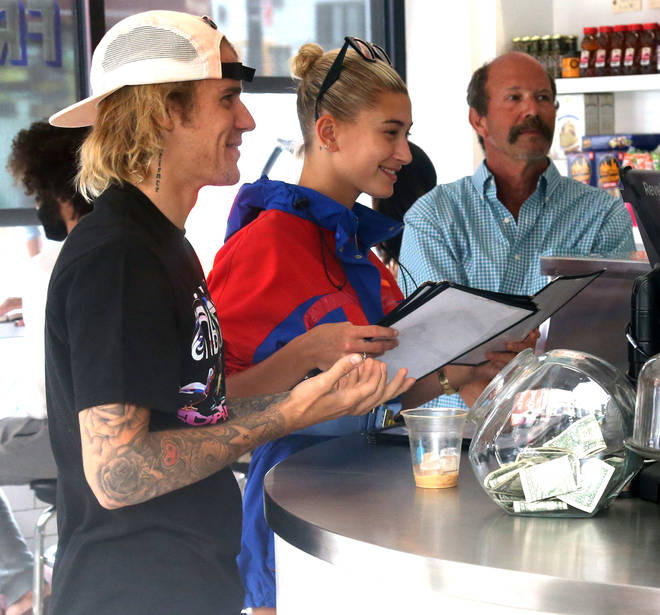 Justin Bieber & Hailey Baldwin In Their Happy Place- At A Coffee Counter