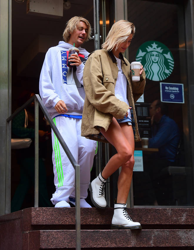 Justin & Hailey Leave Starbucks Whilst Enjoying Another Coffee
