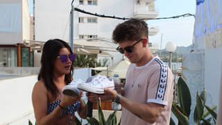 Connor Ball was a total Ibiza pro - and did a shoe-y out of his brand new Converse!