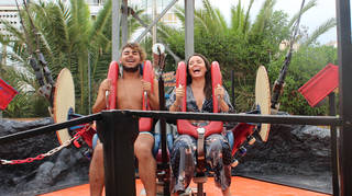 Sarah Story managed to convince a stranger to join her on the sling shot!