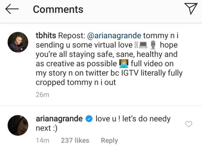 Ariana Grande asks producer Tommy Brown if they can cover 'needy' next time
