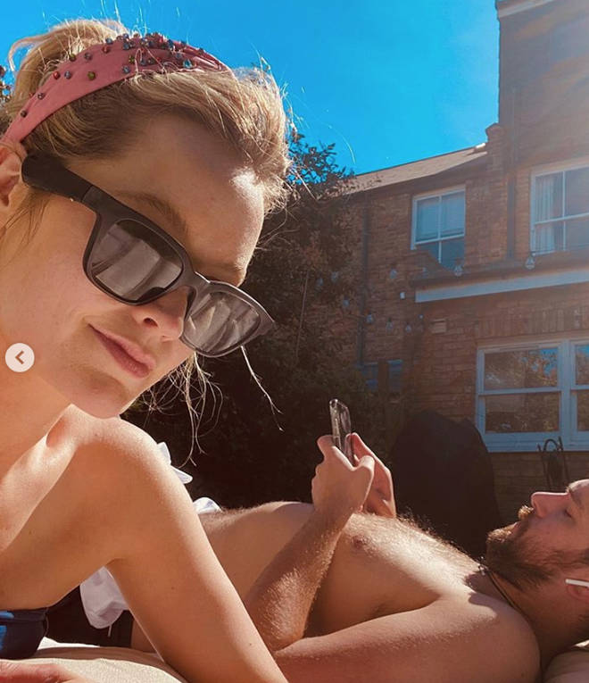 Laura Whitmore and Iain Stirling spent the sunny weekend sunbathing