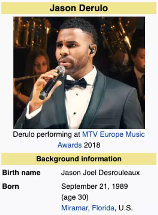 Wikipedia reveals Jason Derulo's real name
