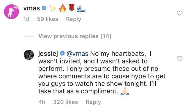 Jessie J's Response To The MTV VMAs' Instagram Comment
