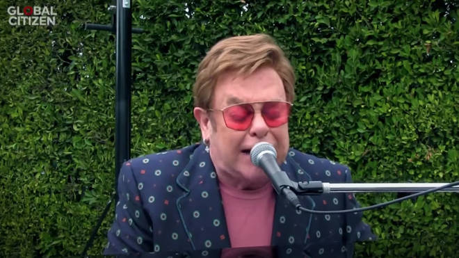 Elton John also had an outdoor set up for his performance