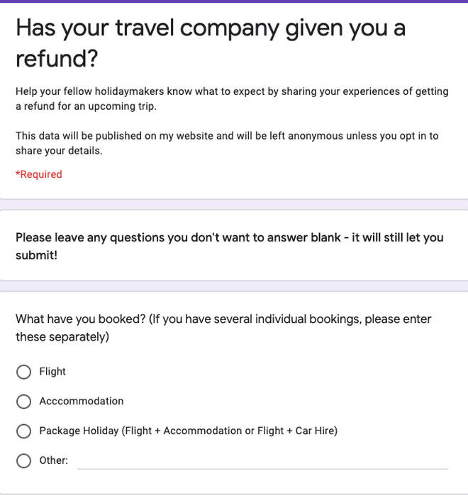 Chelsea Dickenson's created a survey to build a better idea of airline refund policies