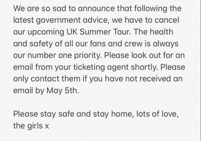 Little Mix post a statement about their Summer 2020 tour