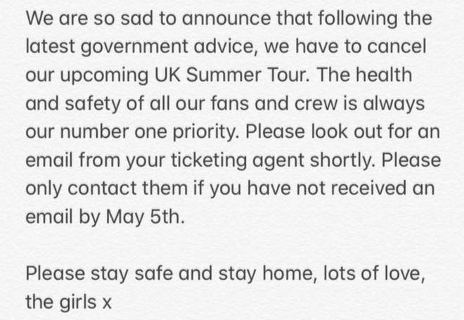 Little Mix announce they've cancelled their 2020 UK summer tour