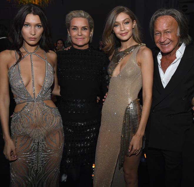 Gigi and Bella Hadid with parents Yolanda and Mohamed