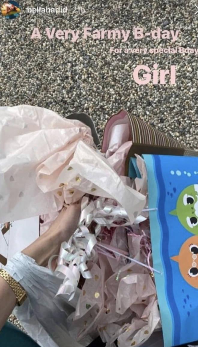 Bella Hadid gifted Gigi with a blue Baby Shark bag