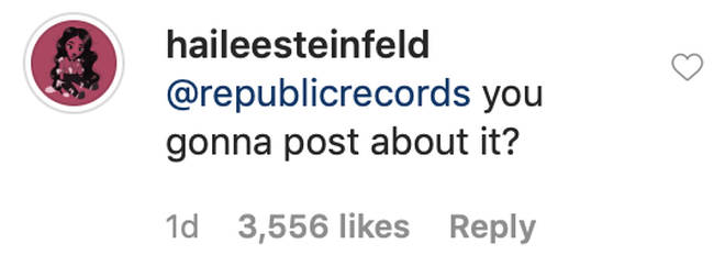 Hailee Steinfeld made a savage comment to her record label
