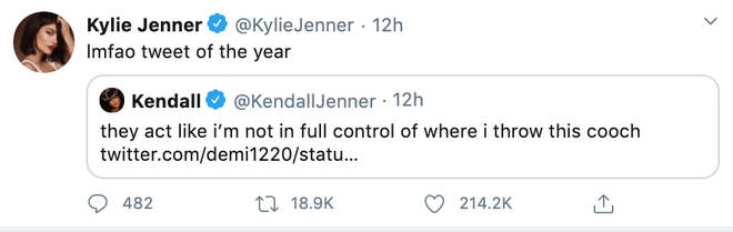 Kylie Jenner hailed her sister's reply 'tweet of the year'