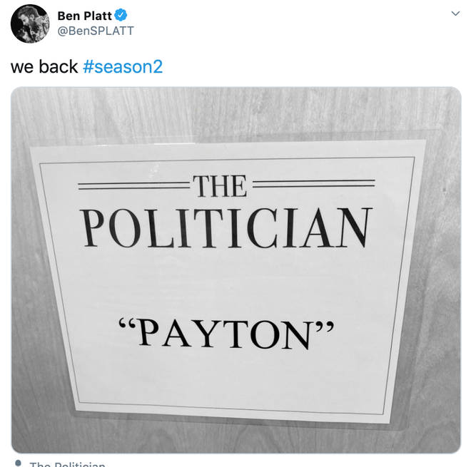 Ben Platt stars as Payton in The Politician and will return for series 2