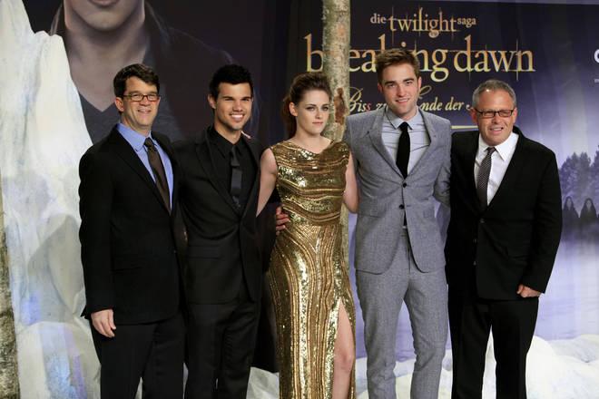 Robert Pattinson, Kristen Stewart and Taylor Lautner at the Breaking Dawn premier