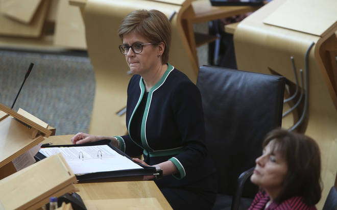 Nicola Sturgeon during a special coronavirus First Ministers Questions at the Scottish Parliament
