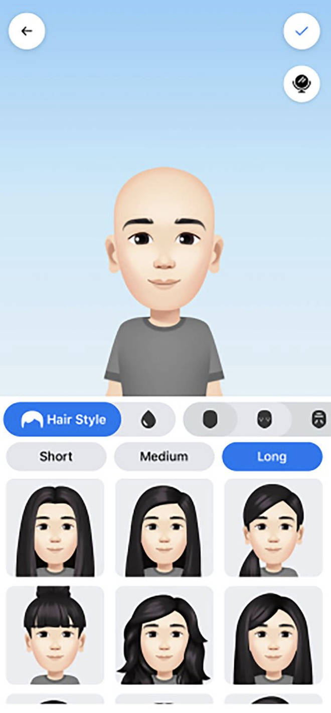 Facebook avatars can be personalised according to skin colour, hair colour, eye shape etc