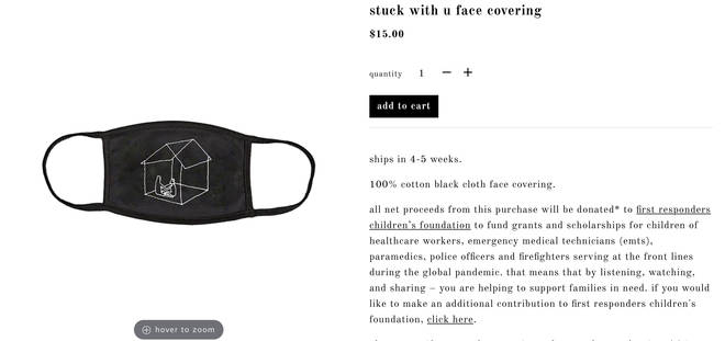 Ariana Grande has 'Stuck With U' face coverings available on her website
