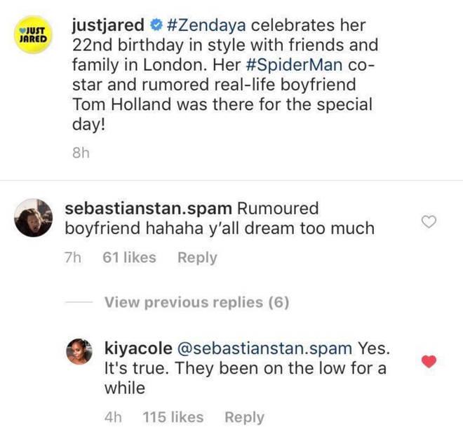 Kiya Cole comments on Instagram