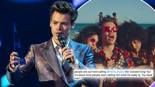 Harry Styles asked the models on set if it was okay he touched their hair