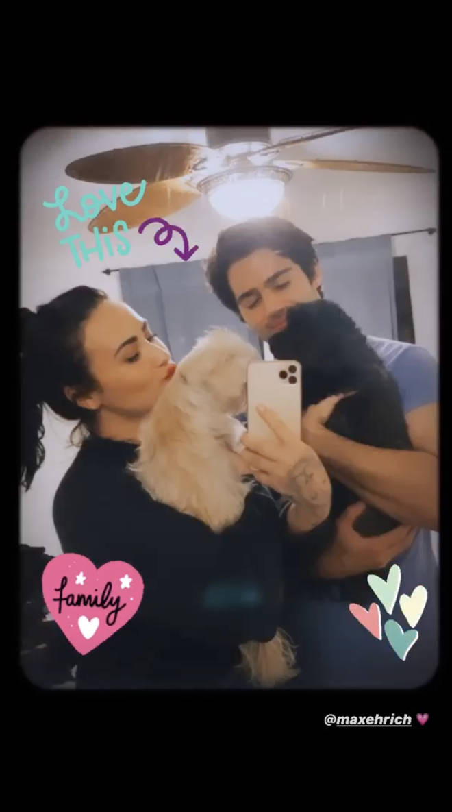 Demi Lovato and Max Ehrich shared a snap on Instagram with their pets
