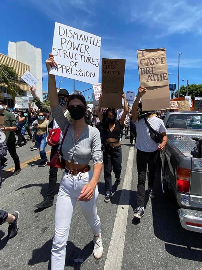 Emily Ratajkowski was among the protestors