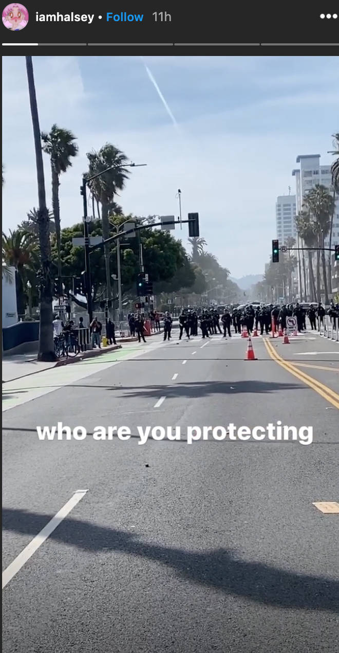 Halsey posted a picture from the front line of the protests in LA
