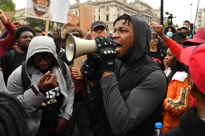 John Boyega speaks at the Black Lives Matter Movement protest in London