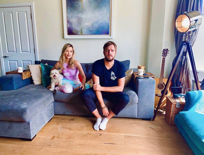 Laura Whitmore and Iain Stirling have a large L-shaped sofa