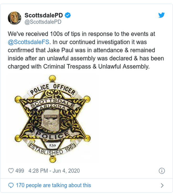 Scottsdale PD claimed they'd received hundreds of tips about Jake Paul