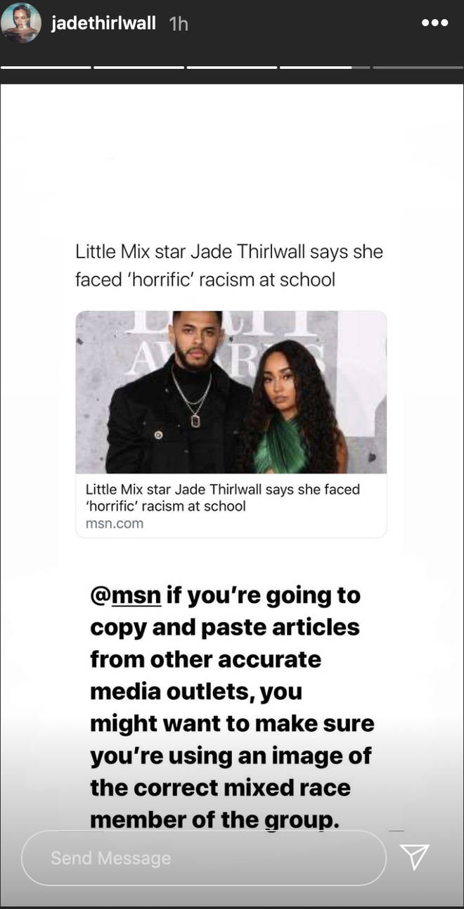 Jade Thirwall called out a media outlet on her Instagram story