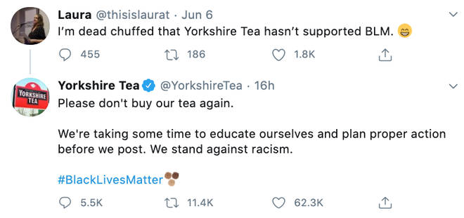 Yorkshire Tea defend Black Lives Matter and shut down tea fan