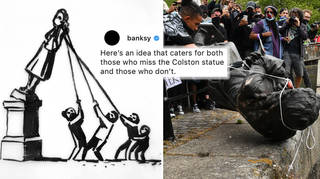 Banksy suggests creative way to re-display toppled Edward Colston statue