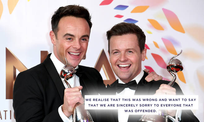 Ant and Dec have apologised for 'impersonating people of colour'