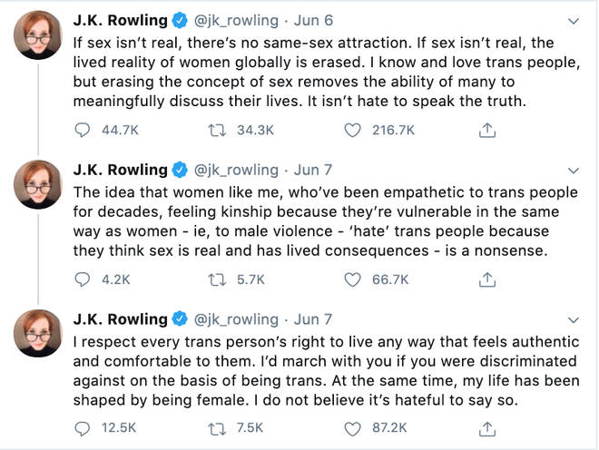 JK Rowling's controversial tweets saying 'sex is real'