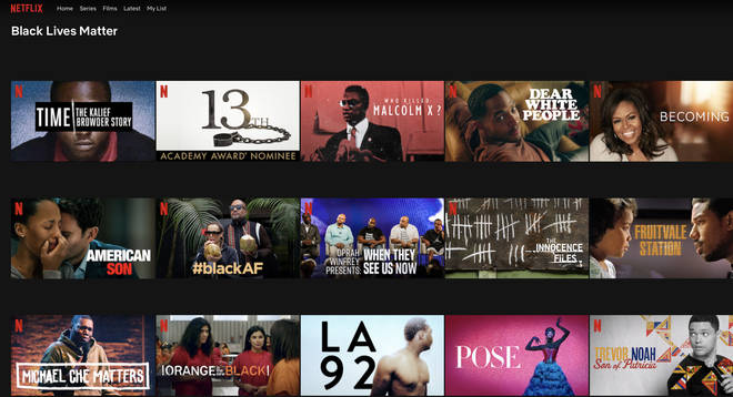 The 'Black Lives Matter' section on Netflix boasts a variety of things to watch