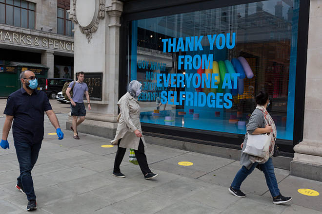 Queuing markers placed outside Selfridges