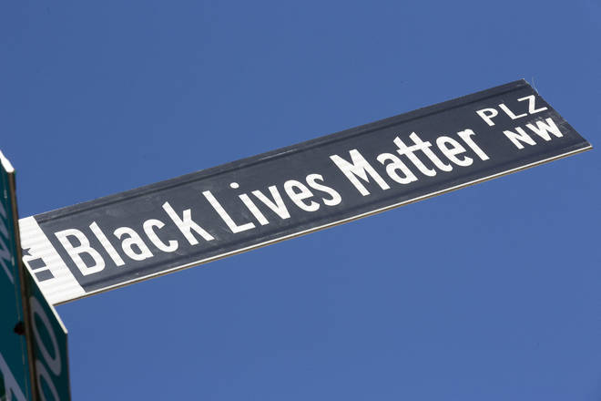 The BLM Plaza sign was put up on 16th street