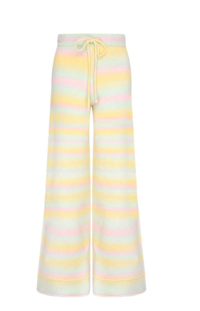 Olivia Rubin rainbow wide leg trousers worn by Stacey Solomon on Celebrity Gogglebox