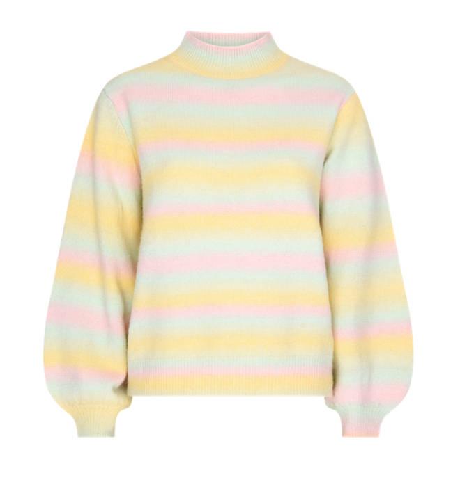 Stacey Solomon wore Olivia Rubin's pastel rainbow jumper on Celeb Gogglebox