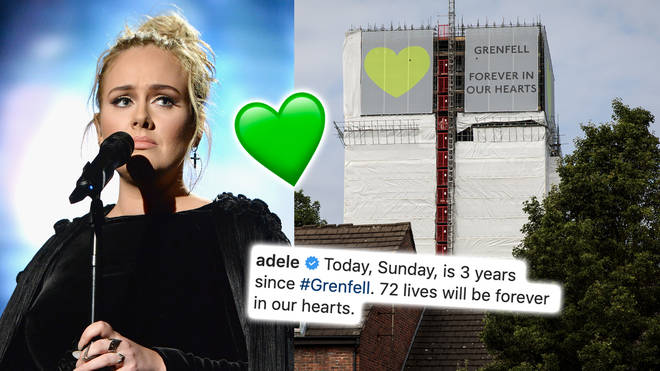 Adele pays tribute to victims of the Grenfell Tower disaster