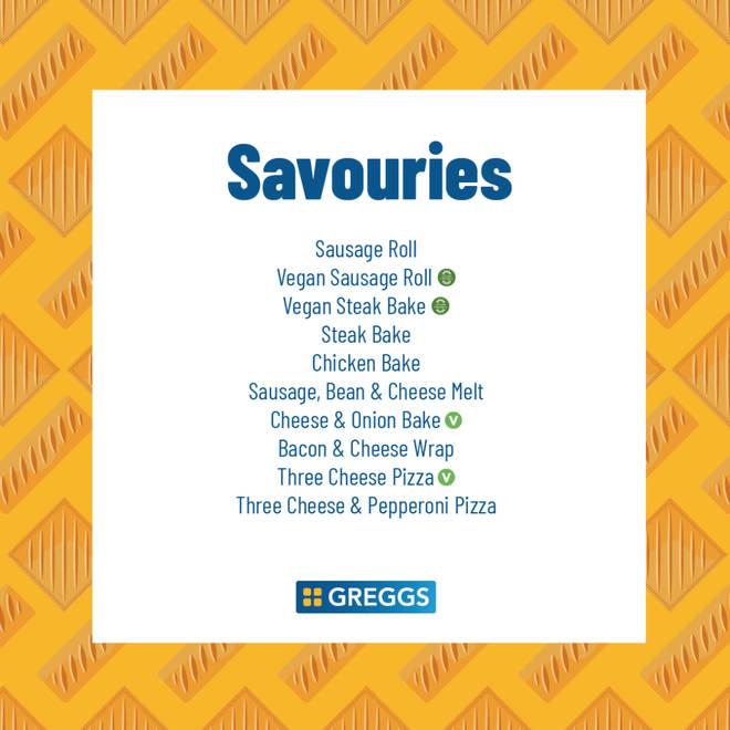 Greggs reveals its 'limited' savouries menu