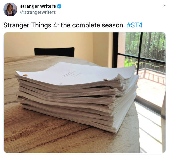 Stranger Things writers shared this photo of the new series' scripts